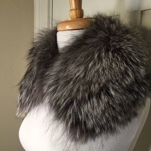 Dark Light Gray Faux Fur attachable neck collar
